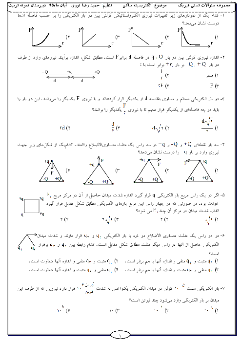 سؤالات تستی فیزیک (2) یازدهم  | فصل 1: الکتریسیته ساکن + پاسخ