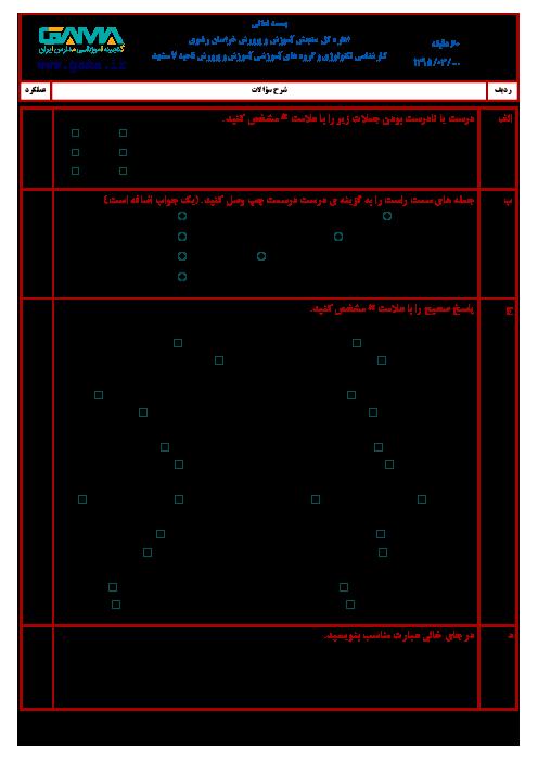 آزمون نوبت دوم علوم تجربی ششم هماهنگ ناحیه 7 مشهد | خرداد 1395