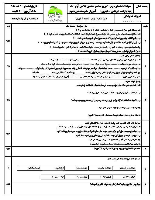 امتحان میان ترم تاریخ معاصر ایران یازدهم دبیرستان جام | درس 1 تا 5