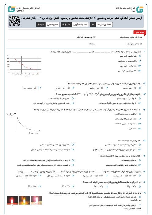 آزمون تستی آمادگی کنکور سراسری شیمی (2) یازدهم رشتۀ تجربی و ریاضی    فصل اول: درس 3-1- رفتار عنصرها و شعاع اتم
