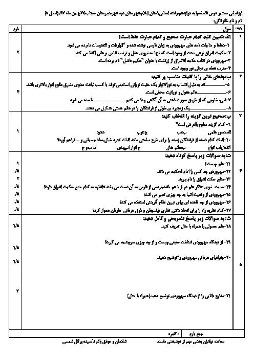 امتحان فلسفه (2) دوازدهم انسانی دبیرستان حجاب | فصل 8: حکمت اشراق