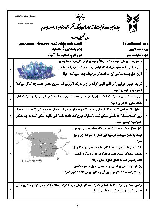 امتحان تکوینی زیست شناسی (1) دهم سازمان سما | فروردین 96: فصل 1 تا 6