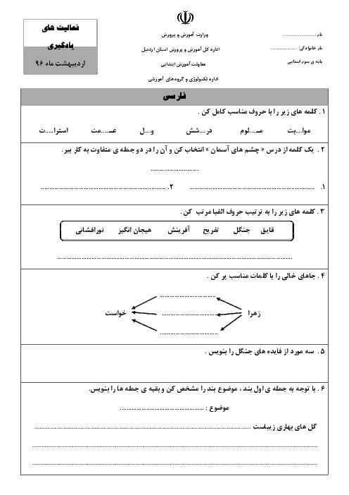 پیک ماهانهی اردیبهشت فارسی، علوم و ریاضی کلاس سوم دبستان - ادارهی تکنولوژی و گروههای آموزشی اردبیل