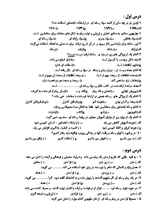 سوالات تستی تفکر و سواد رسانهای یازدهم | درس 1 تا 11