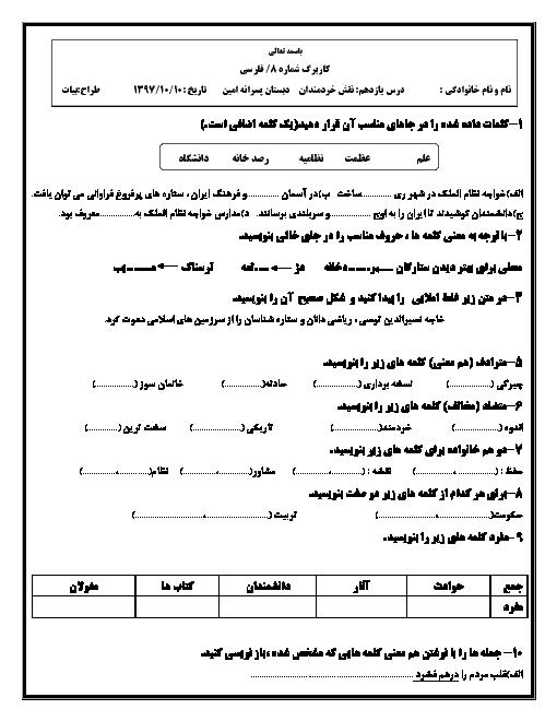 کاربرگ تمرینی فارسی پنجم دبستان امین | درس 11: نقشِ خردمندان
