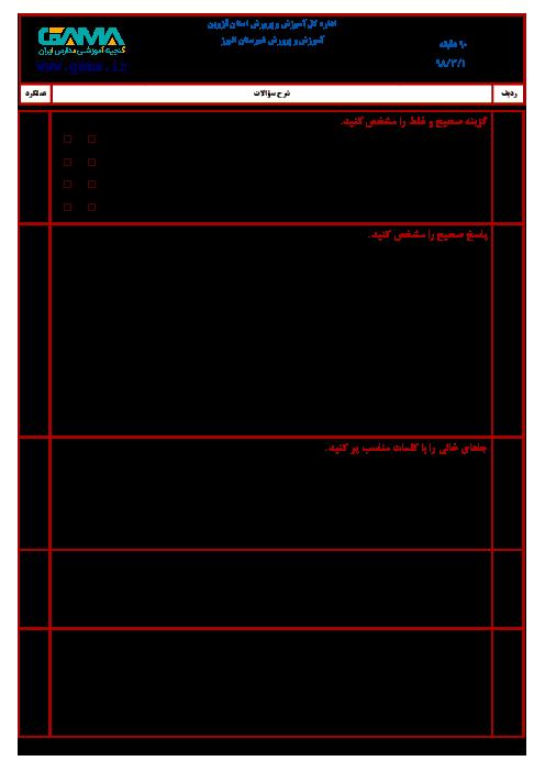 آزمون نوبت دوم ریاضی ششم هماهنگ ناحیه البرز استان قزوین   خرداد 1398