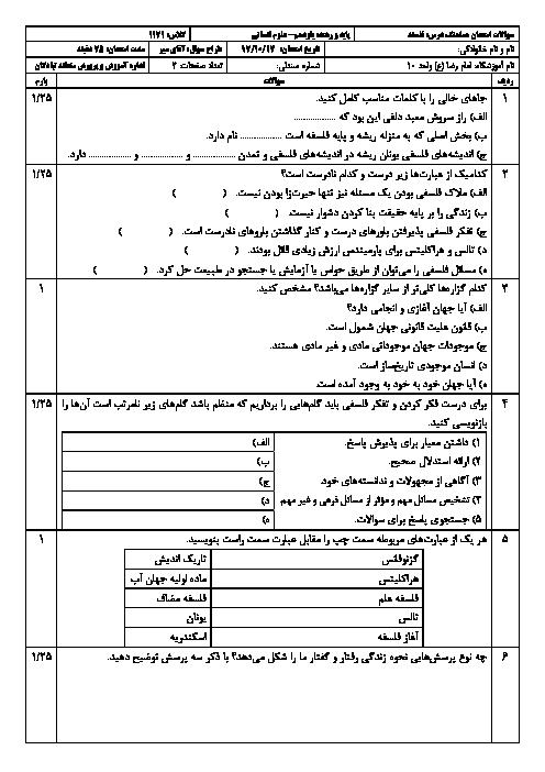 سؤالات و پاسخنامه امتحان ترم اول فلسفه یازدهم دبیرستان امام رضا (ع) تبادکان | دی 1397
