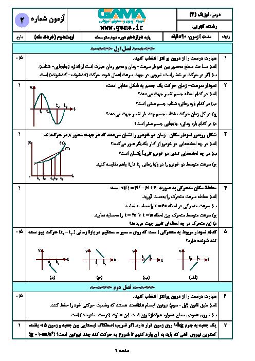 نمونه سوال امتحان نوبت دوم فیزیک (3) تجربی دوازدهم (سری 2) | خرداد 1398 + پاسخنامه تشریحی
