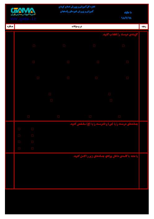آزمون نوبت دوم ریاضی ششم هماهنگ شهرستان رفسنجان | اردیبهشت 1398