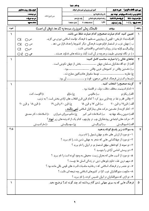 سوالات و پاسخنامه امتحان نوبت دوم جامعه شناسی یازدهم دبیرستان فاطمه الزهرا خواف | خرداد 1398