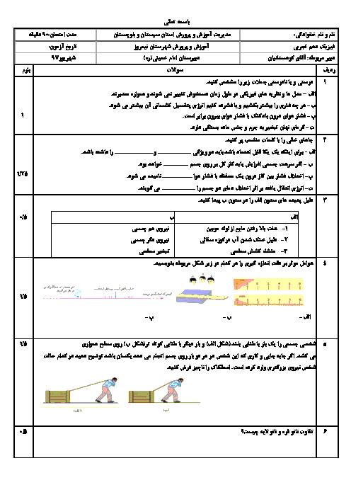آزمون جبرانی نوبت تابستان فیزیک (1) دهم دبیرستان امام خمینی نیمروز | شهریور 1398