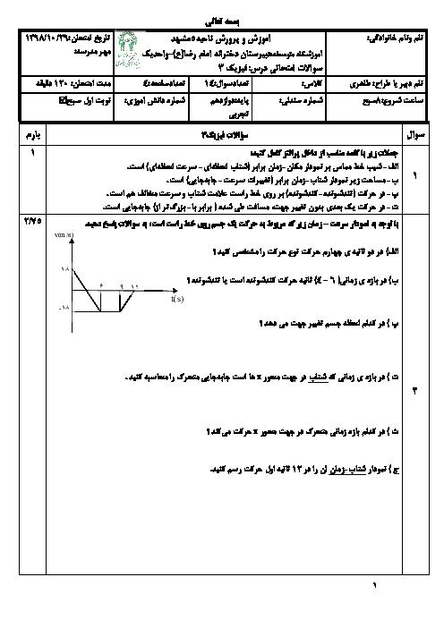 امتحان ترم اول فیزیک دوازدهم تجربی دبیرستان امام رضا واحد 1 مشهد | دی 98