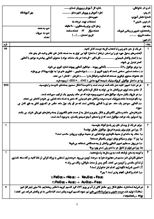 سوالات امتحان جبرانی نوبت دوم شیمی (2) پایه یازدهم دبیرستان دانش | شهریور 1397