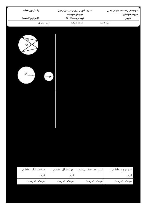 آزمون نوبت دوم هندسه (2) پایه یازدهم دبیرستان یعقوب لیث | خرداد 1397