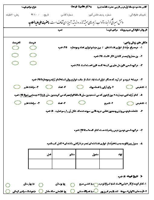 امتحان نوبت اول فارسی هشتم | آموزشگاه حضرت فاطمه (س)