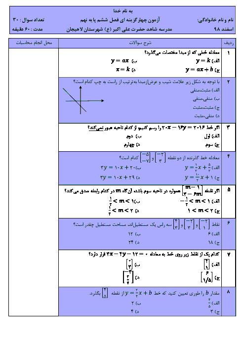 آزمون تستی سطح دشوار فصل 6 ریاضی نهم مدرسه شاهد علی اکبر لاهیجان | خط و معادلههای خطی