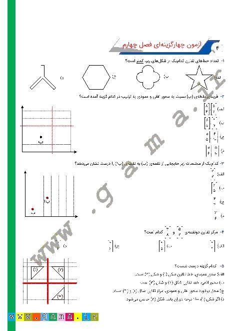 آزمون تستی ریاضی ششم دبستان | فصل 4: تقارن و مختصات