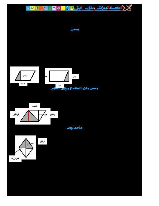 کاربرگ تمرین ریاضی جدید پنجم دبستان   فصل 6: مساحت لوزی و ذوزنقه
