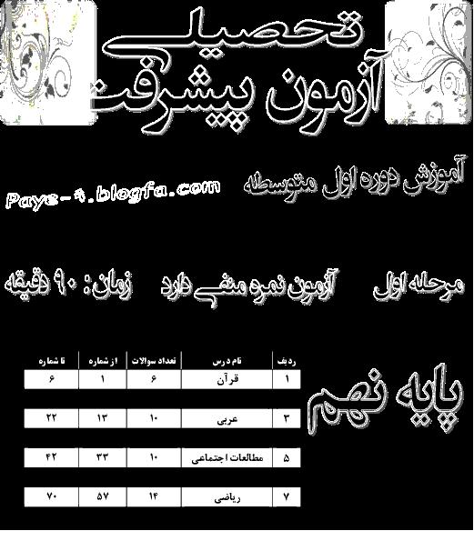 آزمون پیشرفت تحصیلی دانش آموزان پایه نهم استان تهران | دی 94
