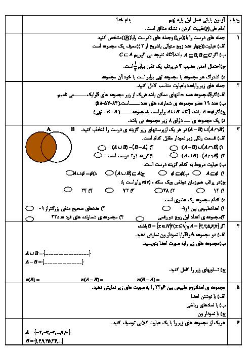 مجموعه سوالات طبقه بندی شده ریاضی نهم | فصل 1 تا 4