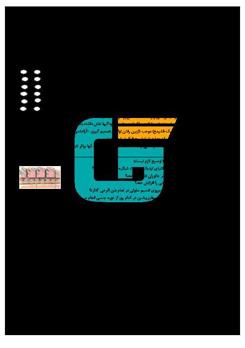 آزمون نوبت دوم زیست شناسی (2) پایه یازدهم دبیرستان نمونه دولتی فرزانگان | مهاباد ـ خرداد 1397