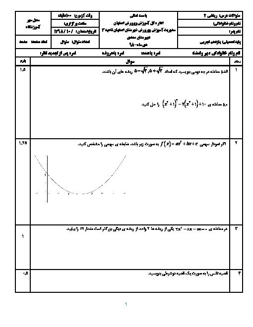 سوالات امتحان ترم اول ریاضی (2) یازدهم دبیرستان سعدی | دی 98