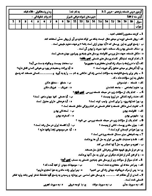 آزمون تستی درس 1 و 2 فلسفه یازدهم انسانی دبیرستان نمونه دولتی توحید شیراز