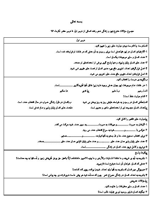 سؤالات طبقهبندی شده دین و زندگی (1) دهم دبیرستان شهید بهشتی | درس 1 تا 7