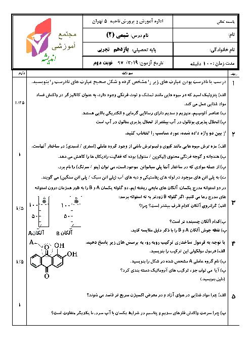 آزمون نوبت دوم شیمی (2) یازدهم مجتمع آموزشی اندیشه | خرداد 1397