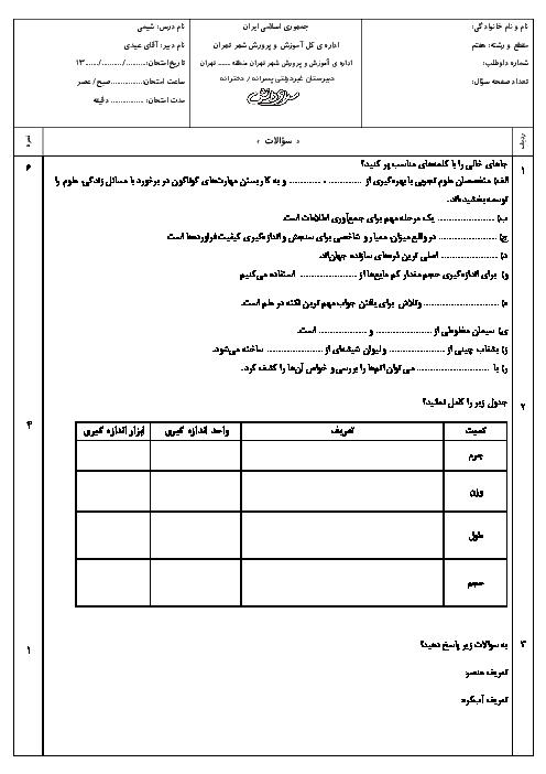سوالات و پاسخ امتحانات نوبت اول علوم تجربی (شیمی) هفتم مدارس سرای دانش - دی 96