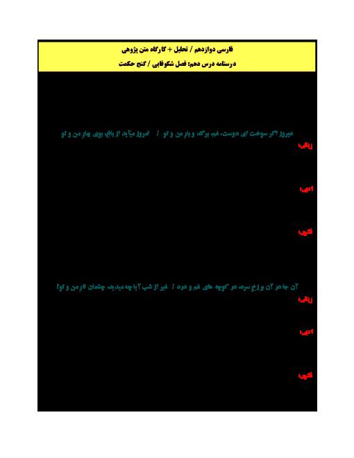 تحلیل و کارگاه متن پژوهی فارسی دوازدهم | درس 10: فصل شکوفایی  گنج حکمت
