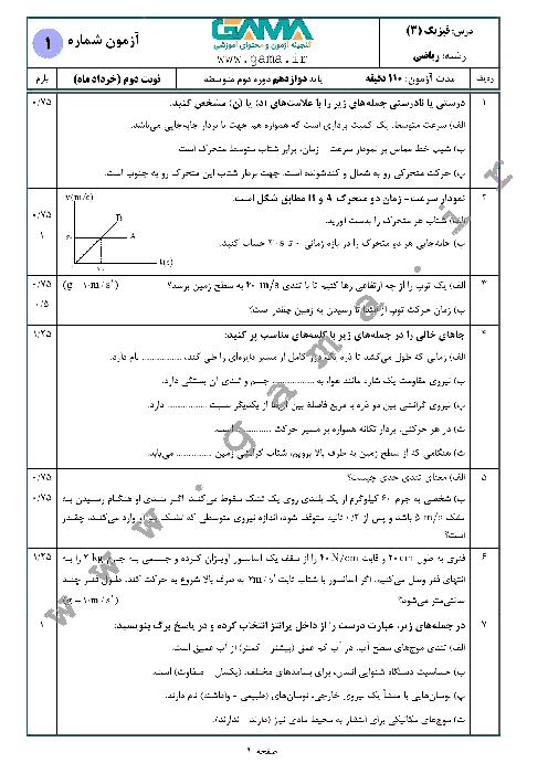 4 سری نمونه سؤال آمادگی امتحان نهایی (نوبت دوم) فیزیک (3) دوازدهم ریاضی