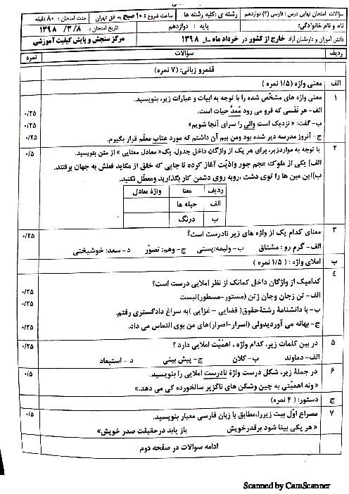 سؤالات امتحان نهایی (مدارس خارج از کشور) فارسی (3) دوازدهم | خرداد 1398