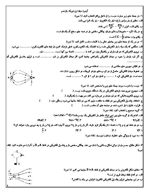 آزمون میانترم فیزیک (2) یازدهم دبیرستان سلام | فصل 1: الکتریسیتۀ ساکن