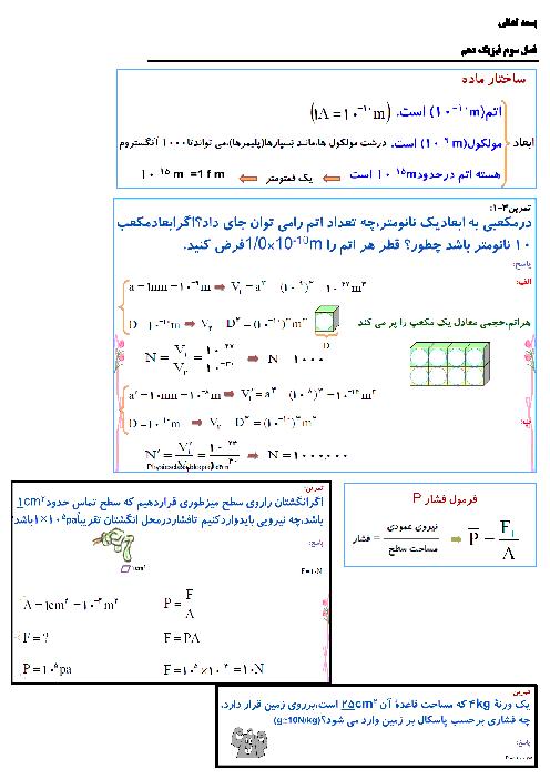 جزوه جمع بندی و تمرین های حل شده فصل 2 فیزیک دهم تجربی و ریاضی