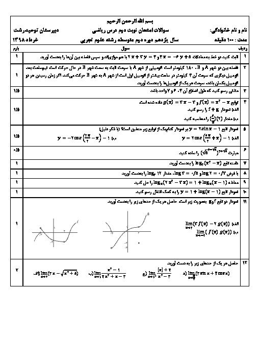 امتحان نوبت دوم ریاضی یازدهم دبیرستان دخترانه توحید رشت | خرداد 1398