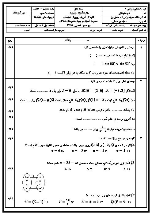 آزمون نوبت دوم ریاضی (1) دهم دبیرستان امام صادق (ع)   اردیبهشت 1398