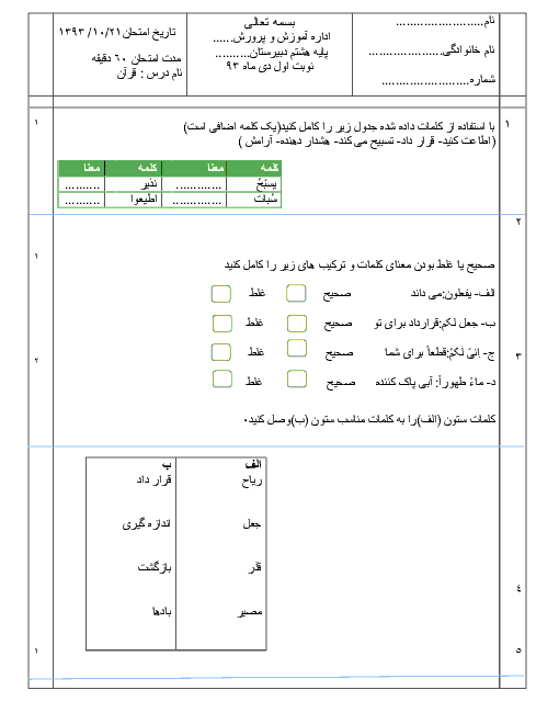 امتحان قرآن هشتم | نوبت اول دی ماه 1393