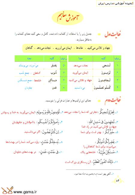 گام به گام آموزش قرآن نهم | پاسخ فعالیت ها و انس با قرآن درس 8: جلسه اول (سوره صف)