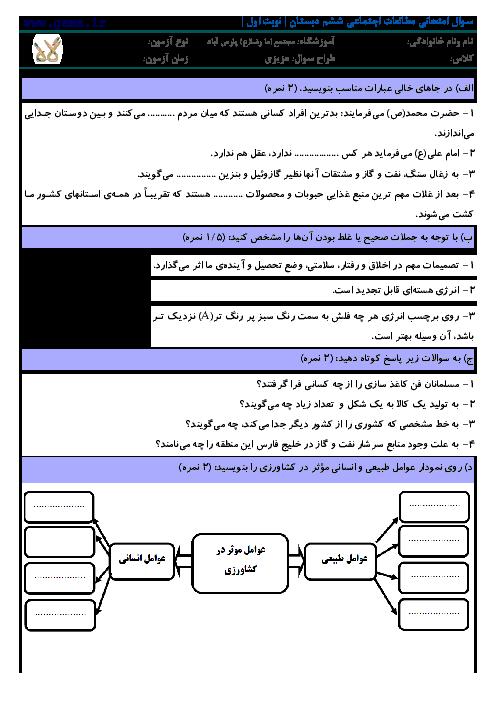دانلود نمونه آزمون مطالعات اجتماعی ششم دی 1392 | مجتمع آموزشی امام رضا