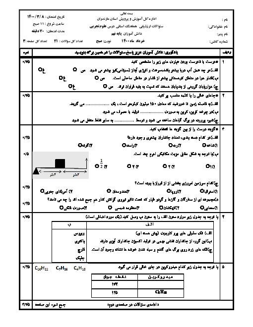 سؤالات امتحان هماهنگ علوم تجربی پایه نهم استان مازندران | خرداد 1400