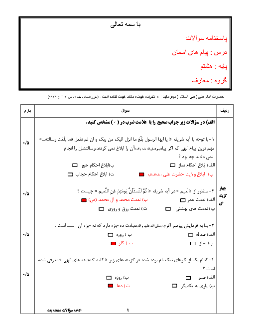 آزمون نوبت دوم پیامهای آسمان پایه هشتم مدرسه امام رضا (ع) + جواب | خرداد 96