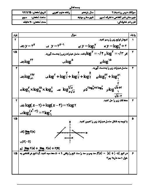 امتحان ریاضی (2) تجربی یازدهم رشته دبیرستان اسری | فصل 5 و 6