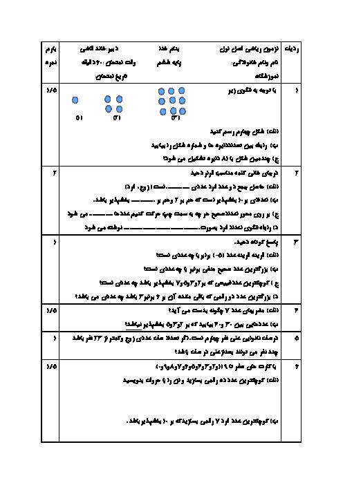 آزمون مداد کاغذی ریاضی ششم دبستان ایران زمین | فصل 1: عدد و الگوهای عددی