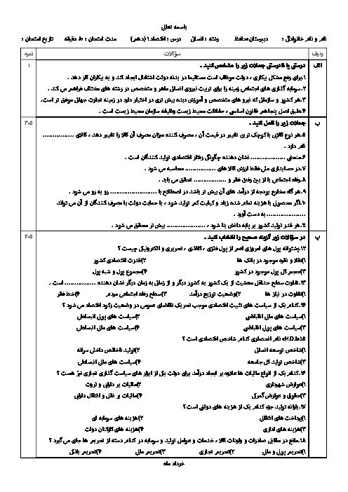 سوالات و پاسخ امتحان نوبت دوم اقتصاد دهم رشته ادبیات و علوم انسانی دبیرستان حافظ | خرداد 96