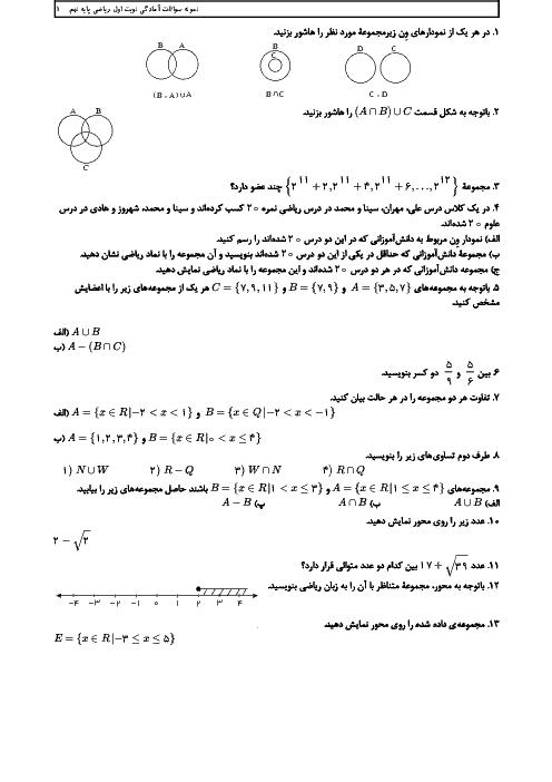 تمرین های آمادگی امتحان ترم اول ریاضی نهم مدرسه شهید بهشتی | فصل 1 تا 4