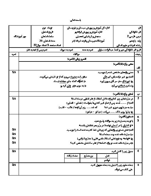 سوالات امتحان نیمسال دوم فارسی یازدهم دبیرستان 15 خرداد | خرداد 1398
