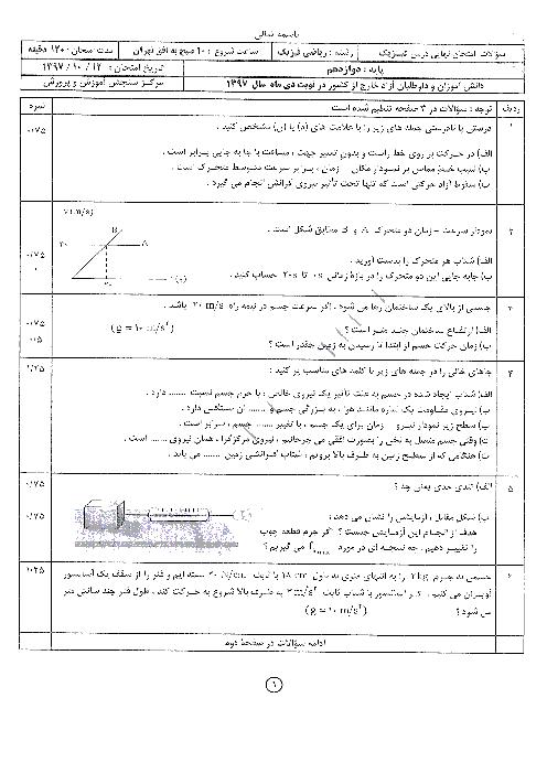 آزمون نوبت دوم فیزیک (3) ریاضی دوازدهم هماهنگ خارج از کشور | دی 1397