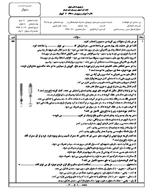 سوالات امتحان نوبت اول زیست شناسی (2) یازدهم دبیرستان فرهیختگان نو | دی 1399