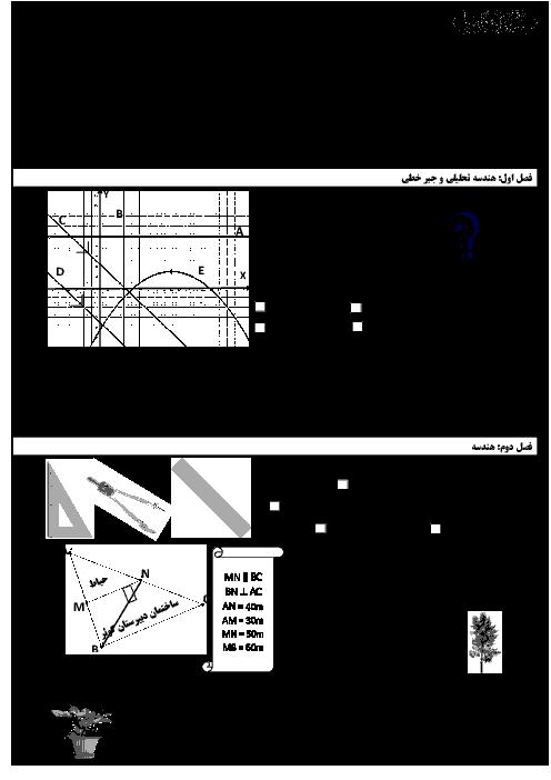 امتحان ترم دوم ریاضی (2) یازدهم دبیرستان حضرت علی اکبر قم | خرداد 1398